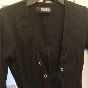 Reformation Tops - Reformation black v neck bodysuit size S/XS New!